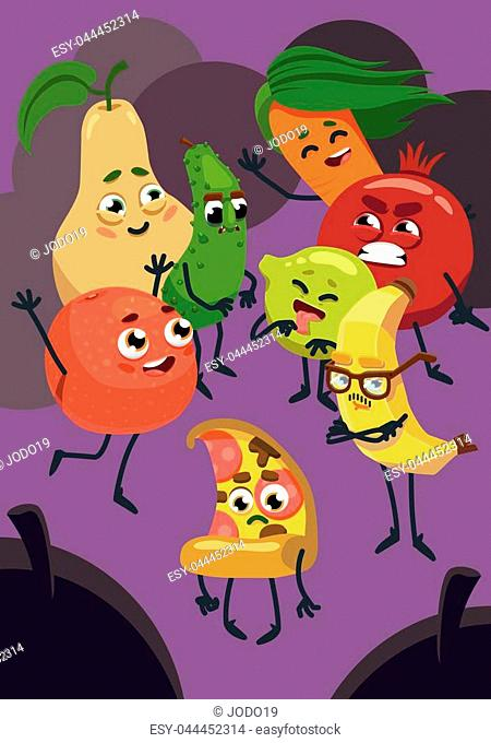 Vegetables and fruits are laughing over pizza. A vegetarian cartoon. Cartoon vector 2D illustration