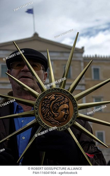 Greek man with so-called Star of Vergina, sign of Greek origin of Macedonia, during protest against recognition of the name FYROM as North Macedonia