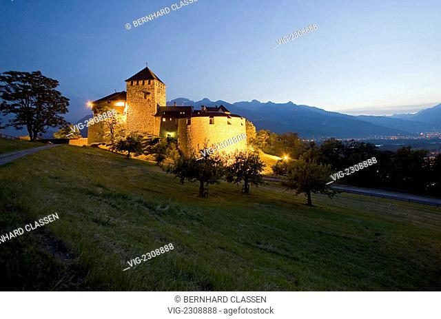 Vaduz Castle in the twilight, residence of the Prince of Liechtenstein and landmark of the capital of VADUZ, LIECHTENSTEIN, Europe
