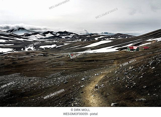 Iceland, South West, Landmannalaugar, Highland, Hrafntinnusker hut