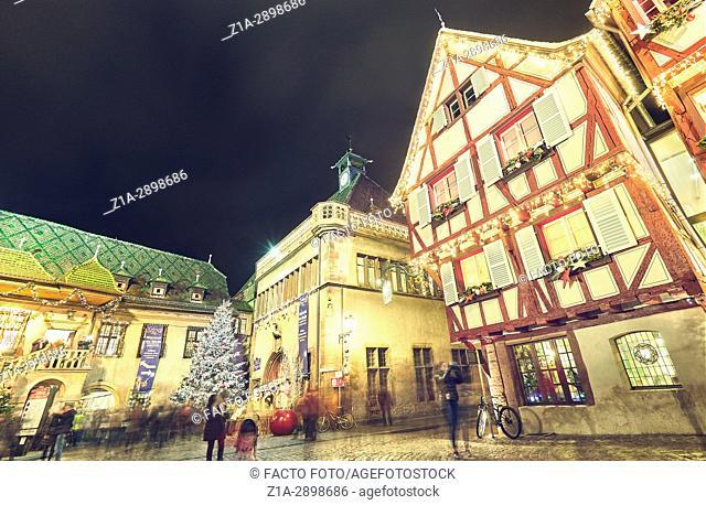 Christmas decoration at the city center. Colmar. Haut-Rhin. Alsace. France