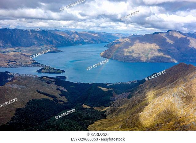 Rainbow on Wakatipu Lake from Ben Lomond track Queenstown New Zealand