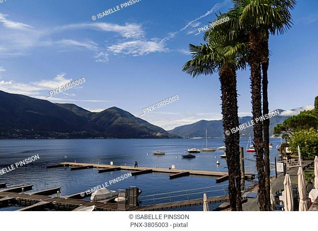 Switzerland, Ticino canton, Ascona, from Giuseppe Motta Place on Lake Maggiore, view on the lake, the port and the mountains