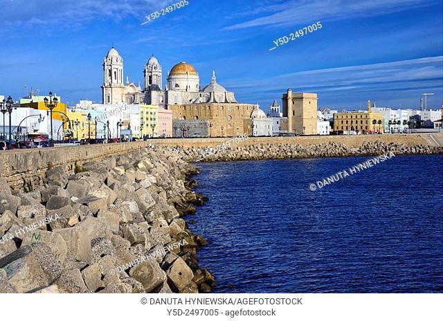 Europe, Spain, Andalusia, Cádiz, Old town, Barrio de la Viña and Cathedral, promenade along breakwater
