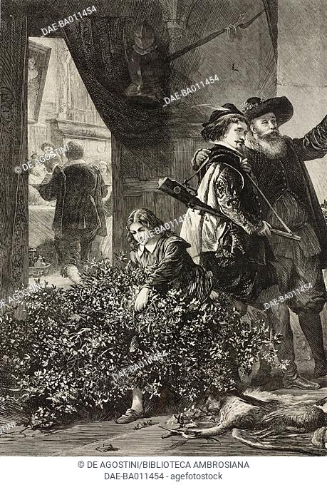 Hunters with game, illustration from the magazine The Illustrated London News, volume LIII, December 19, 1868. Detail