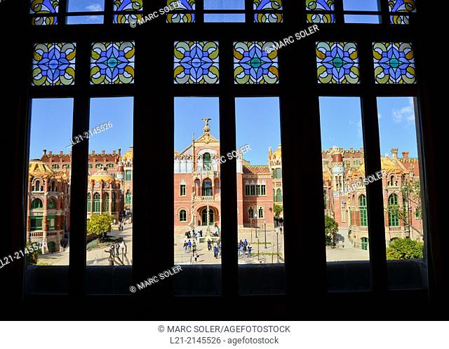 Hospital de Sant Pau 1902-1930. Designed by Lluís Domenech i Muntaner. Considered the most important Modernist whole of Europe