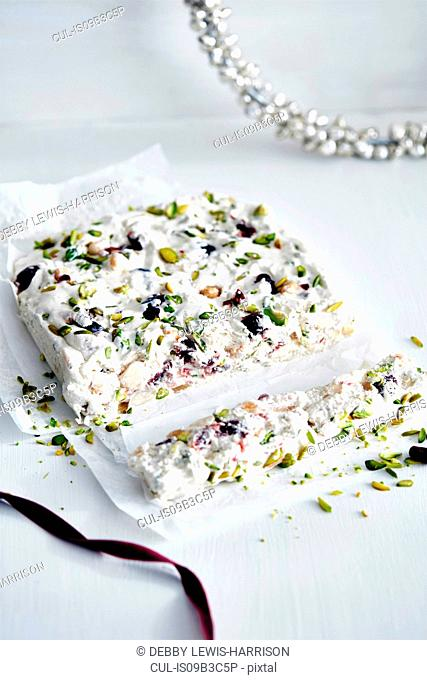 Christmas present of nut and dried fruit nougat