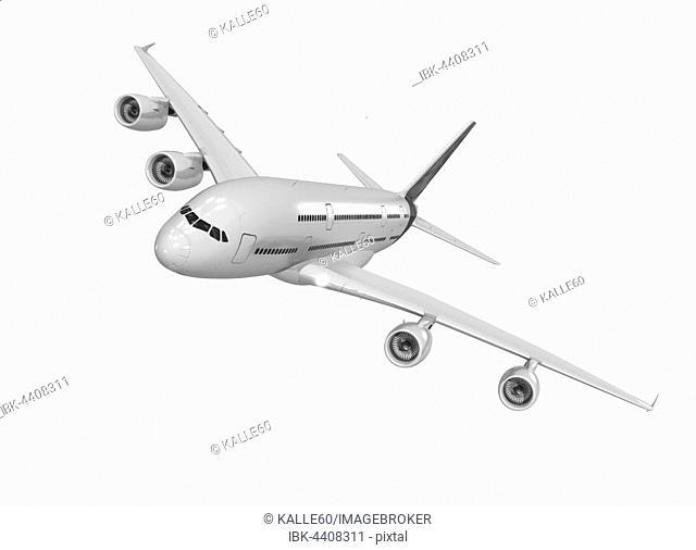 Portrait of wide-bodied jet in flight, white background