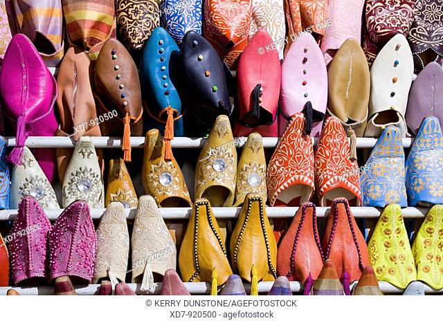 Morocco Marrakesh Place Djemaa el-Fna Berber shoes for sale in the market