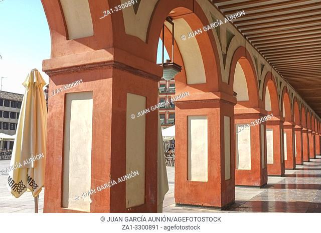 Grand 17th-century Corredera Square, Cordoba, Spain. Shopping and restaurants arcades