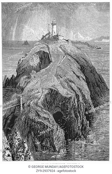 1870: The South Stack Lighthouse was built on the summit of a small island off the north-west coast of Holy Island, Anglesey, Wales