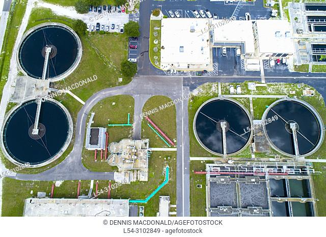 Modern lagoon waste water style sewage treatment plant in Bradenton Florida fl where normal household sewage is treated and filtered and recycled for future...