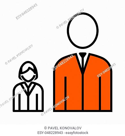 Man Boss With Subordinate Lady Icon. Thin Line With Orange Fill Design. Vector Illustration