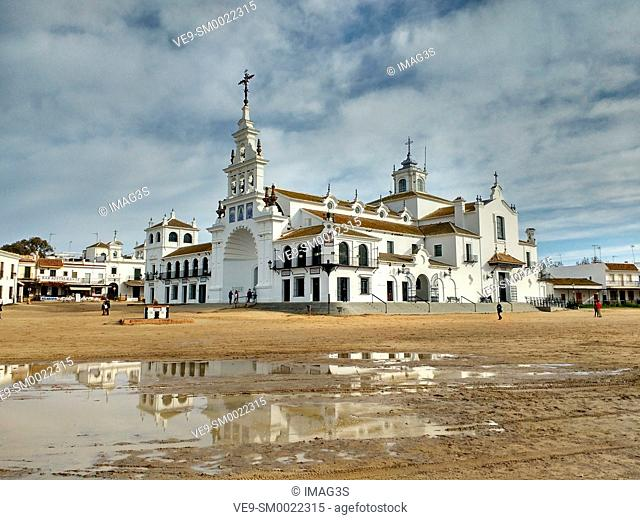 El Rocio village with the Hermitage of El Rocio, at the marsh Madre de las Marismas del Rocio, National Park Doñana, Huelva province, Andalusia, Spain