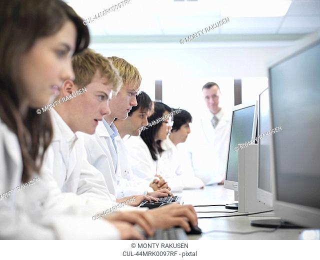 Science students working on computers