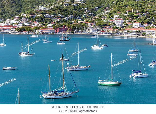 Charlotte Amalie, St. Thomas, U. S. Virgin Islands. Small Boats in the Bay, mid-afternoon. Blackbeard's castle upper right. Fort Christian, middle