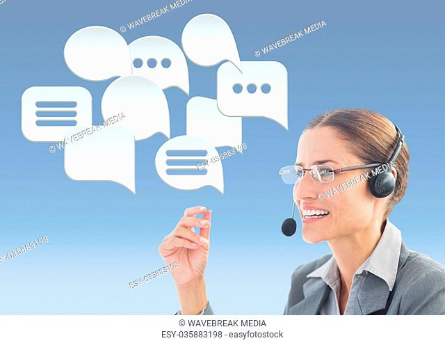 Customer care service woman with chat bubbles