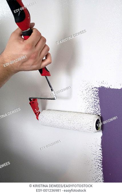 A man painting with a Roller