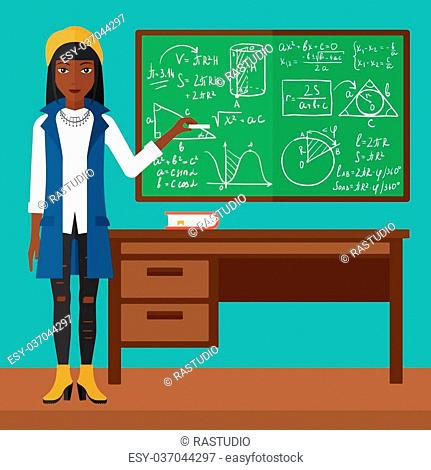 An african-american woman standing in classroom in front of the blackboard with a piece of chalk in her hand vector flat design illustration