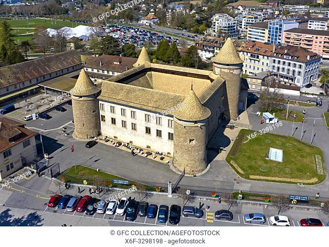 Morges Castle, aerial shot, Morges, Vaud, Switzerland