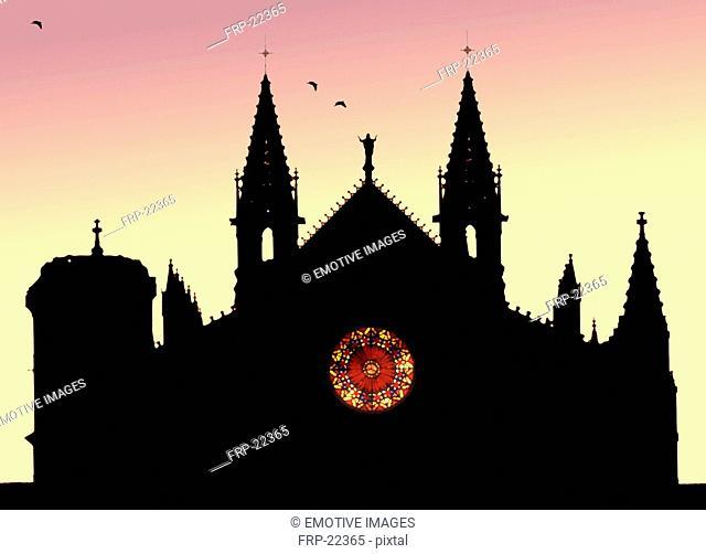 Cathedral La Seu in evening light, Palma de Majorca, Spain