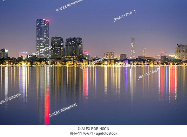 West lake and the skyline of Hanoi, Vietnam, Indochina, Southeast Asia, Asia