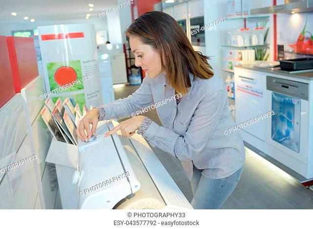 saleswoman printing cards