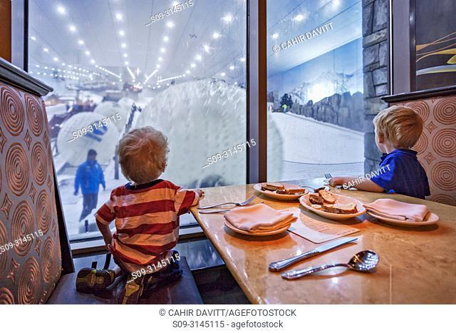 Two caucasian 4 year old boys gaze into the Ski Dubai facility of the Mall of the Emirates, Al Barsha 1, Dubai, Dubayy, United Arab Emirates