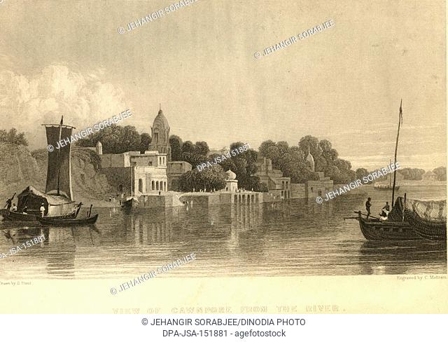 View of Cawnpore from the river ; Kanpur ; Uttar Pradesh ; India