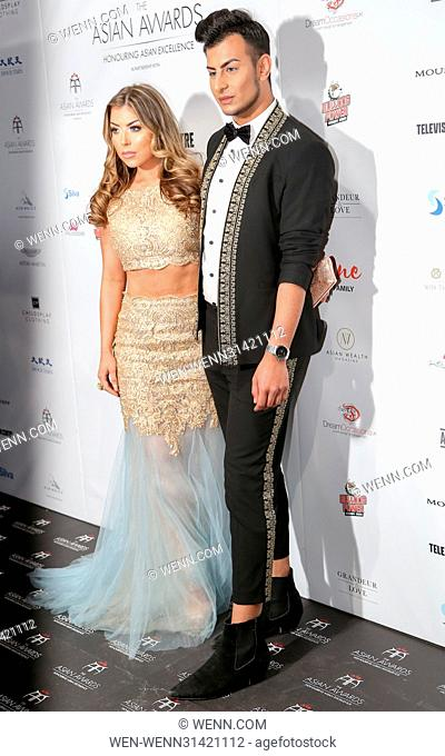 Abigail Clarke and Junked Ahmed attending the 7th Annual Asian Awards at the Hilton Park Lane in London. Featuring: Abigail Clarke, Junked Ahmed Where: London