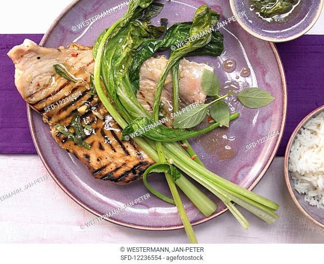Grilled swordfish with Thai vegetables and ginger
