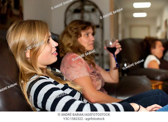 Family livingroom - women relaxing and enjoying leisure-time
