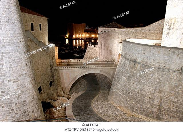 THE RENAISSANCE BRIDGE, REVELIN & CITY WALLS; OLD TOWN,DUBROVNIK, CROATIA; 08/10/2011
