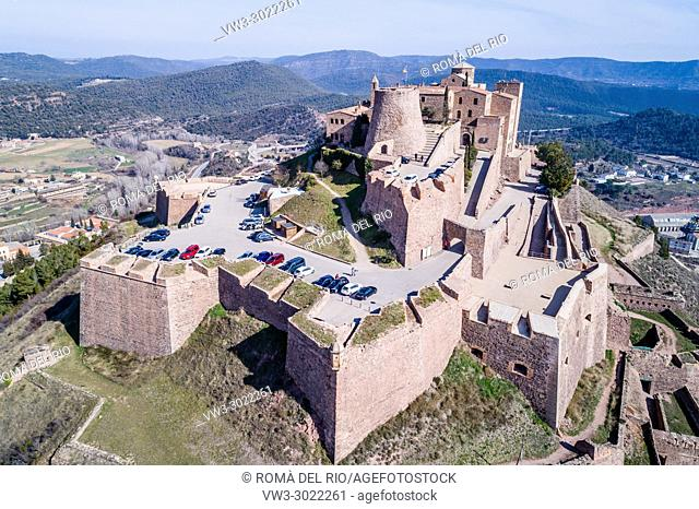 Aerial view of Cardona Castle, Cardona, Catalonia, Spain