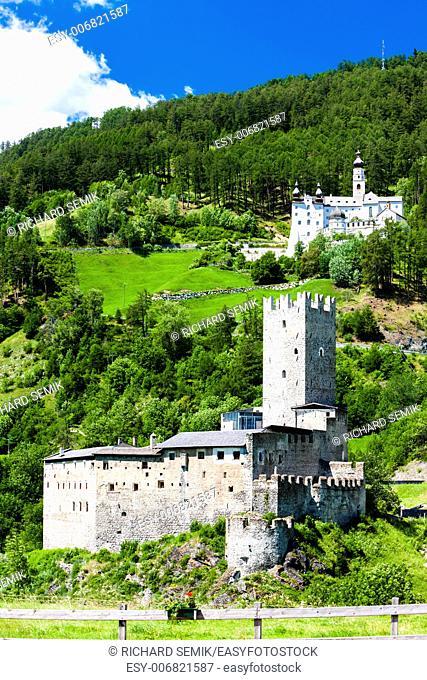 Monte Maria Abbey and castle near Burgusio, Trentino-Alto Adige, Italy