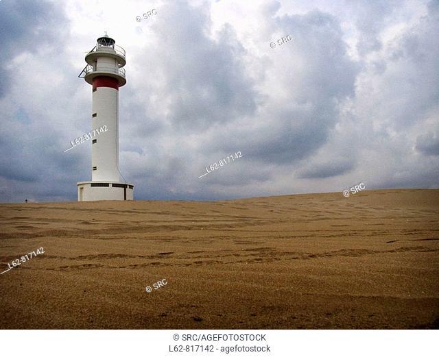 Lighthouse, Ebro river delta. Tarragona province, Catalonia, Spain