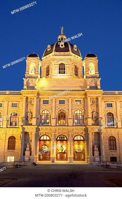 Vienna natural history museum night illuminated