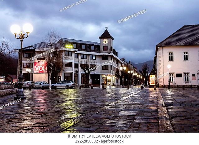 Center of town, central square with clock tower, Kolasin, Montenegro