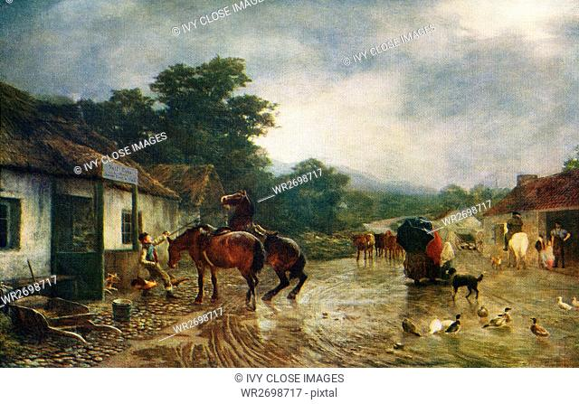 This image titled A Rainy Day, was painted by the English artist Peter Graham (1836-1921). Graham devoted himself to figure subjects