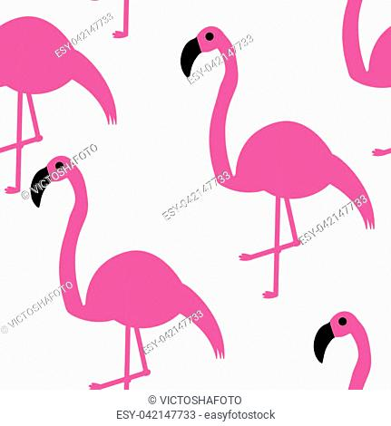 Vector illustration. Seamless pattern. Pink flamingos on a white background