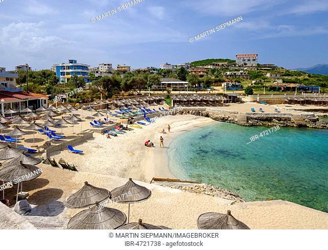 Beach in Ksamil, Butrint National Park, near Saranda, Sarandë, Ionian Sea, Qark Vlora, Albania