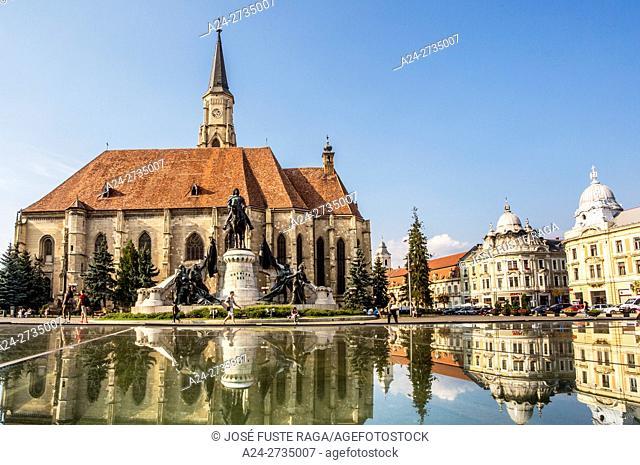 Romania, Transilvania, Cluj Napoca City, Mathia Rex Monument, St. Michael's Church, Unirii Square