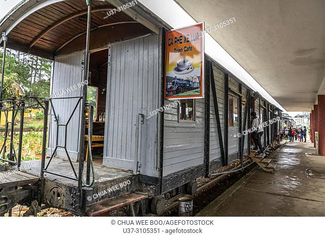DALAT, VIETNAM - Ancient station is famous place, history destination for traveler, with railway, antique train transport tourist to visit in Dalat, Vietnam