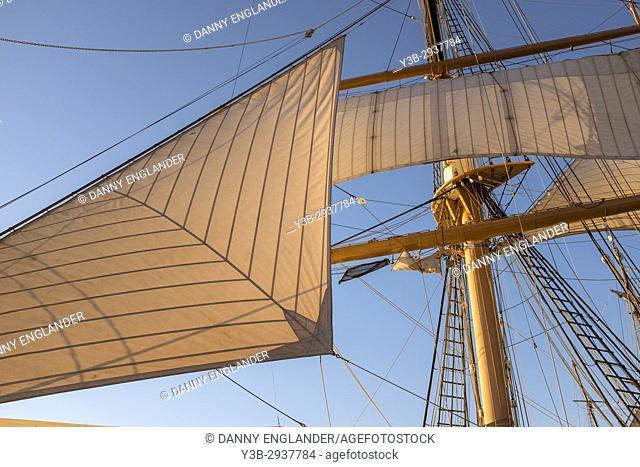 Sunlit sails on an historic sailing ship