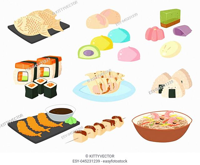 Japan vector food traditional meal cooking culture sushi roll and seafood lunch japanese asian cuisine illustration