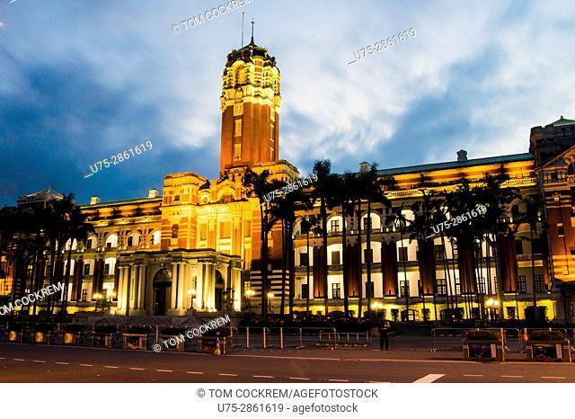 Presidential Office Building at night, Zhongzheng, Taipei, Taiwan