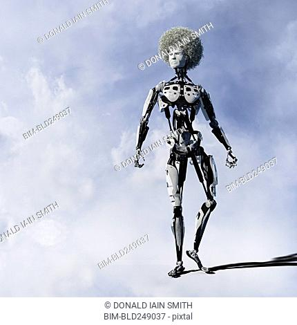 Angry cyborg man with afro