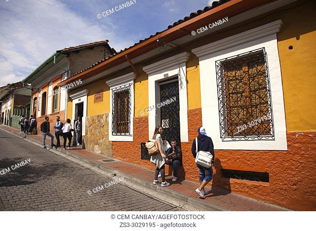 Students in front of the colonial buildings near the University-Universidad De La Salle at the historic center, Bogota, Cundinamarca, Colombia, South America