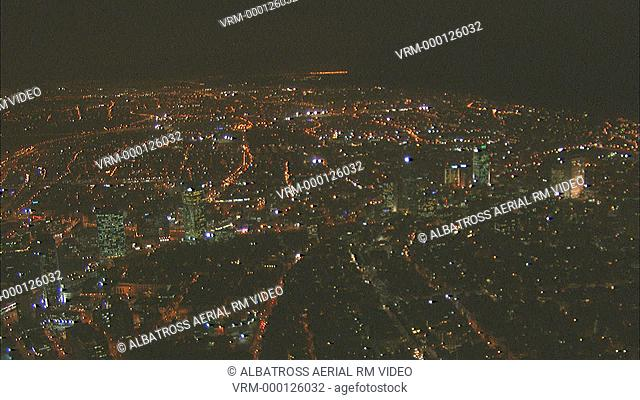 Aerial Tel Aviv city at night (Azrielli Towers)