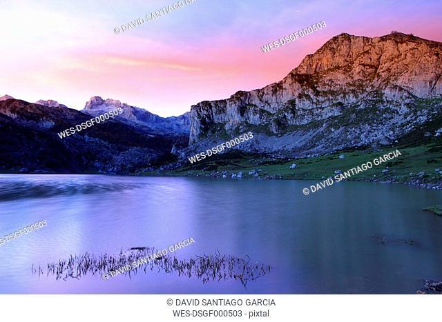 Spain, reflection of Picos de Europa in Lake Ercina